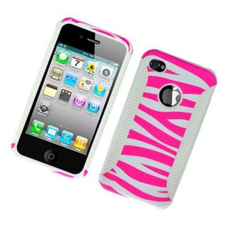 Insten Pink/ White ZebraHybrid Image Protector Case Cover for Apple iPhone 4/ 4s