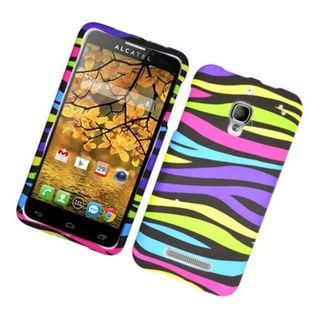 Insten Rainbow Zebra Rubberized Image Protector Case Cover for Alcatel One Touch Fierce