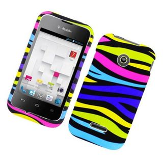 Insten Rainbow Zebra Rubberized Image Protector Case Cover for Huawei Prism II/ U8686