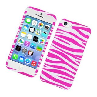 Insten Pink/ White Zebra Rubberized Image Protector Case Cover for Apple iPhone 5/ 5c/ 5s/ SE