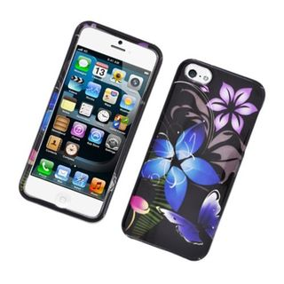 Insten Blue/ Purple Flower and Butterfly Glossy 2D Image Protector Case Cover for Apple iPhone 5/ 5c/ 5s/ SE