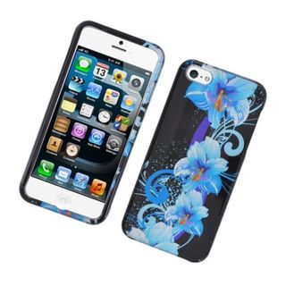 Insten Blue/ Black Four Flowers Glossy 2D Image Protector Case Cover for Apple iPhone 5/ 5c/ 5s/ SE