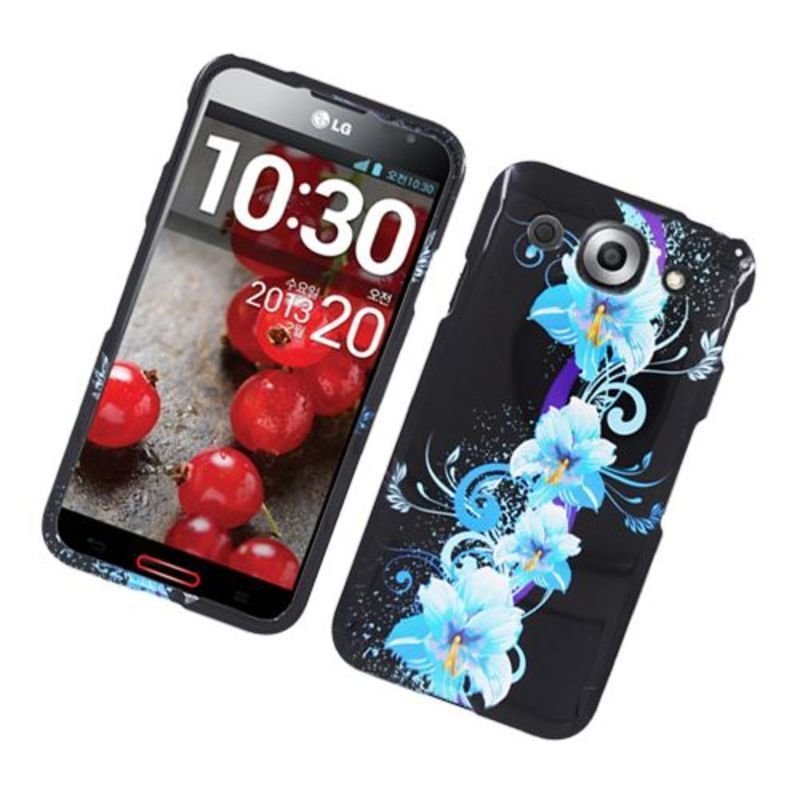 Insten Blue/ Black Four Flowers Glossy 2D Image Protector...