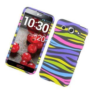Insten Rainbow Zebra Rubberized Image Protector Case Cover for LG Optimus G Pro E980