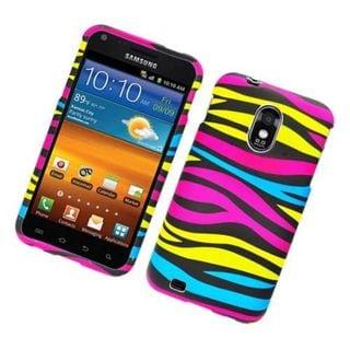 Insten Rainbow Zebra Rubberized Image Protector Case Cover for Samsung Galaxy S2/ CDMA/ D710
