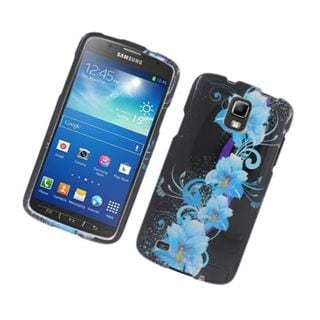 Insten Blue/ Black Four Flowers Glossy 2D Image Protector Case Cover for Samsung Galaxy S4 Active
