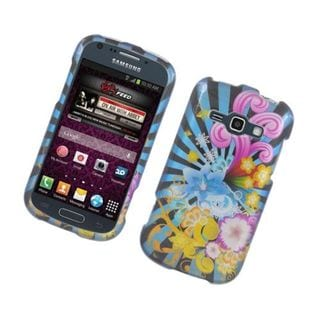 Insten Blue/ Yellow Flowers Glossy 2D Image Protector Case Cover for Samsung Galaxy Ring/ Prevail 2/ M840