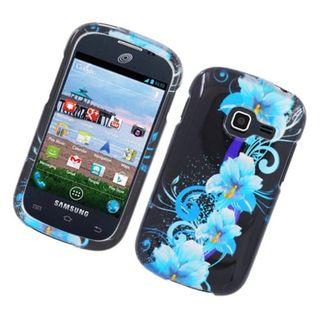 Insten Blue/ Black Four Flowers Glossy 2D Image Protector Case Cover for Samsung Galaxy Centura S738C/ DisCover S730G
