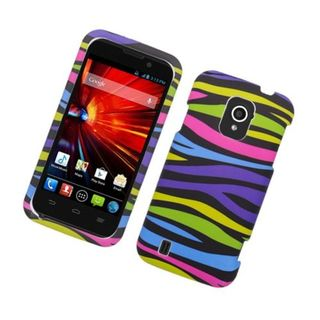 Insten Rainbow Zebra Rubberized Image Protector Case Cover for ZTE Source N9511/ Majesty 796C