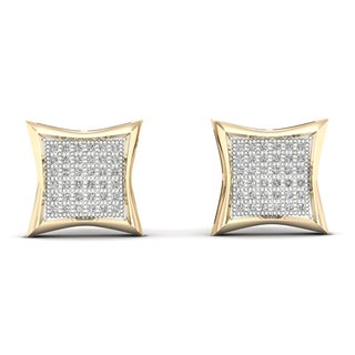 1/4ct TDW Diamond Cluster Stud Earrings in 10k Yellow Gold