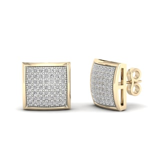 10k Yellow Gold 1/3ct TDW Diamond Cluster Stud Earrings