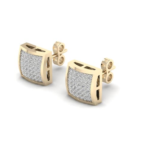 10k Yellow Gold 1/4ct TDW Diamond Cluster Stud Earrings