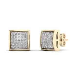 10k Yellow Gold 1/6ct TDW Diamond Cluster Stud Earrings