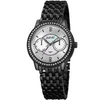August Steiner Women's Quartz Multifunction Diamond Black Bracelet Watch