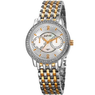 August Steiner Women's Quartz Multifunction Diamond Two-Tone Bracelet Watch