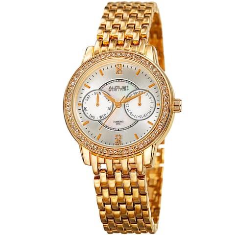 August Steiner Women's Quartz Multifunction Diamond Gold-Tone Bracelet Watch
