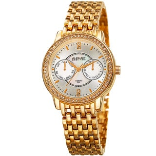 August Steiner Women's Quartz Multifunction Diamond Gold-Tone Bracelet Watch