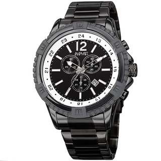 August Steiner Men's Chronograph Multifunction Rustic Black Bracelet Watch