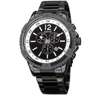 August Steiner Men's Chronograph Multifunction Rustic Black Bracelet Watch