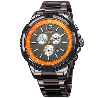 August Steiner Men's Chronograph Multifunction Rustic Gun/Orange Bracelet Watch