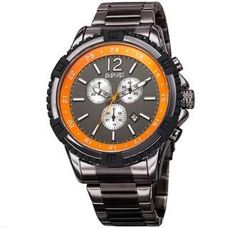 August Steiner Men's Chronograph Multifunction Rustic Gun/Orange Bracelet Watch with FREE GIFT