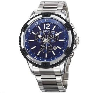 August Steiner Men's Chronograph Multifunction Rustic Silver-Tone/Blue Bracelet Watch