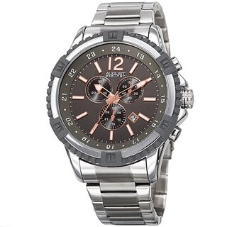 August Steiner Men's Chronograph Multifunction Rustic Silver & Rose-Tone Bracelet Watch