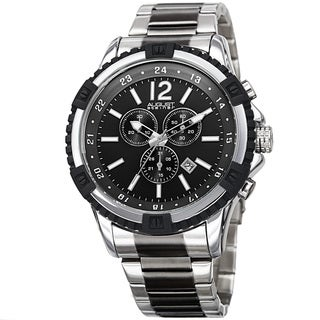 August Steiner Men's Chronograph Multifunction Rustic Two-Tone Bracelet Watch