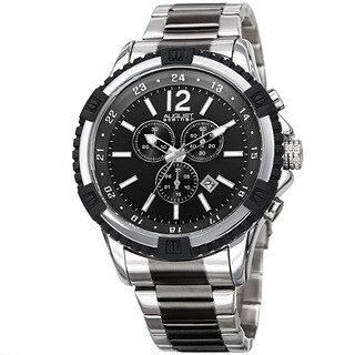 August Steiner Men's Chronograph Multifunction Rustic Two-Tone Bracelet Watch with FREE GIFT