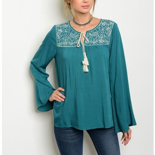 JED Women's Flowy Embroidered Teal Bell Sleeve Blouse