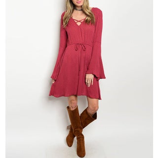 Jed Women's Red Rayon and Spandex Bell-sleeve Lace-up Drawstring-waist Dress