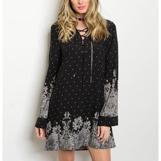 JED Women's Bell Sleeve Border Print Lace-up Tunic Dress