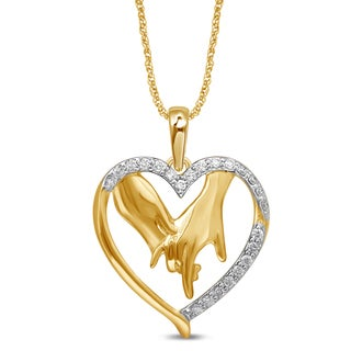 Unending Love 1/7 ct. TDW 10k Gold Heart w/ Hands Necklace (I-J, I3)
