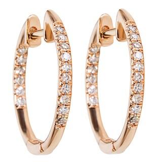 14k Rose Gold 1/4ct TDW Diamond Hoop Earrings (H-I, SI1-SI2)