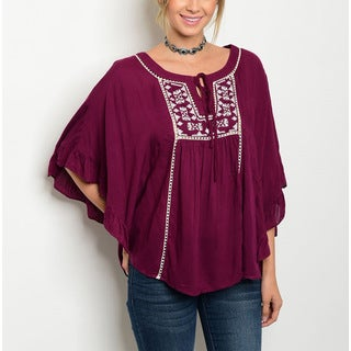Jed Women's Winecolored Rayon Relaxed-fit Batwing-sleeve Embroidered Peasant Blouse