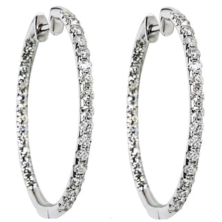 14k White Gold 1 1/2ct TDW Diamond In and Out Hoop Earrings