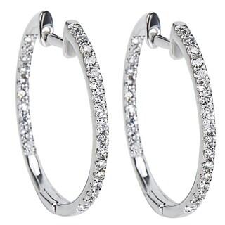 14k White Gold 1/2ct TDW Diamond Hoop Earrings (G-H, SI1-SI2)