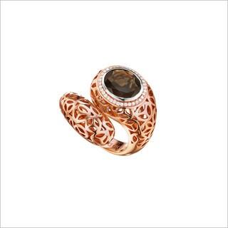 18k Rose Gold over Silver 1/5ct TGW Smokey Quartz and Diamond Accent Ring