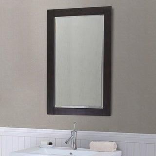 Brown-finished Wood 22-inch-wide x 34-inch-high Contemporary-style Bevel-edge Wall Mirror