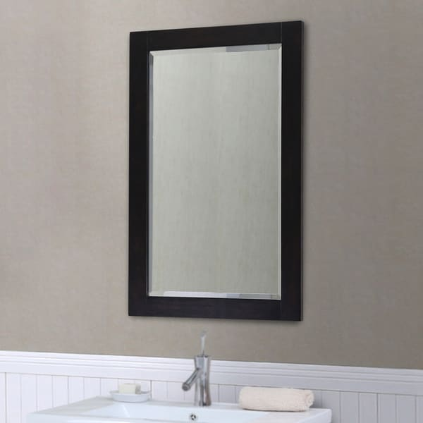 Infurniture Dark Brown Wood Contemporary Style Beveled Edge Wall Mirror