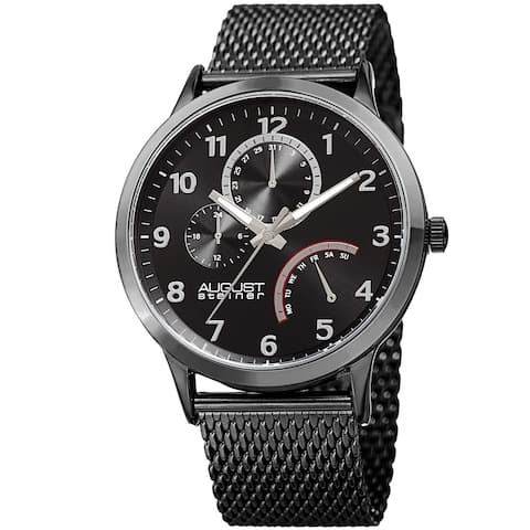August Steiner Men's Sporty Retrograde Multifunction Mesh Black Bracelet Watch