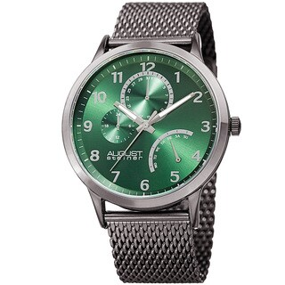 August Steiner Men's Sporty Retrograde Multifunction Mesh Green Bracelet Watch