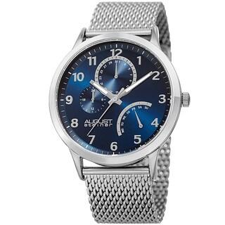 August Steiner Men's Sporty Retrograde Multifunction Mesh Silver-Tone/Blue Bracelet Watch