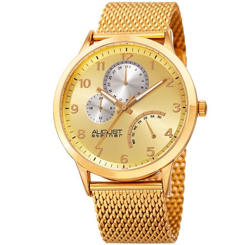 August Steiner Men's Sporty Retrograde Multifunction Mesh Gold-Tone Bracelet Watch