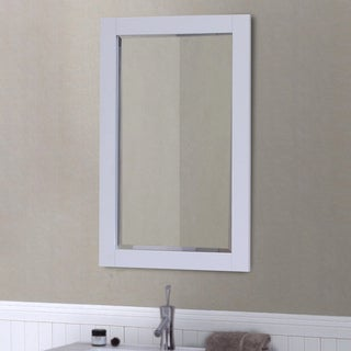 """Infurniture White Wood 22"""" x 34"""" Contemporary Beveled Edge Wall Mirror"""