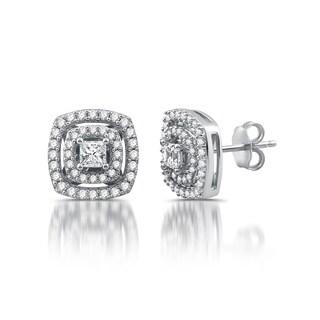 10k White Gold 1ct TDW White Diamond Cushion Stud Earrings (I-J, I2-I3)