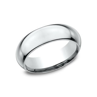 Ladies 7mm Platinum High Domed Comfort-Fit Traditional Wedding Band