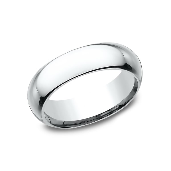 Mens 6mm Platinum High Domed Comfort Fit Traditional Wedding Band