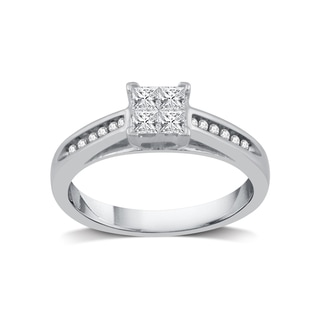 3/8 ct. TDW Princess-Cut Quad Diamond Engagement Ring in Platinaire (I-J, I2-I3)