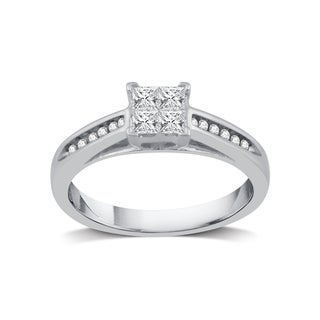 3/8 ct. TDW Princess-Cut Quad Diamond Engagement Ring in Platinaire - White I-J